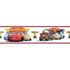 "Cars Piston Cup Champion Peel and Stick 33' x 20.5"" Border Wallpaper"