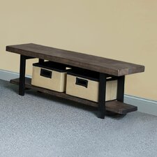 Pomona Reclaimed Wood/Metal Storage Entryway Bench