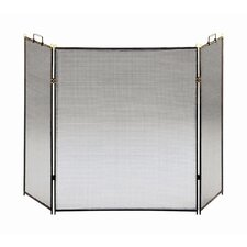 Flat Top 3 Panel Steel Fireplace Screen