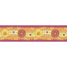 "Just for Kids Daisy Daze Self Stick 15' x 5"" Floral and Botanical Border Wallpaper"