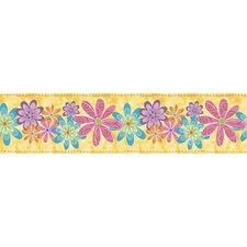 "Snap Kids Flirty Flowers Self Stick 15' x 5"" Floral and Botanical Border Wallpaper"