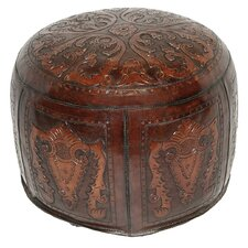 Colonial Leather Ottoman