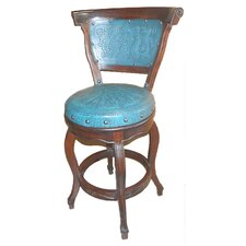 Spanish Swivel Bar Stool with Cushion (Set of 4)