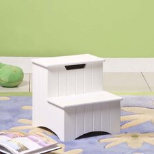 2-Step Manufactured Wood Storage Step Stool with 200 lb. Load Capacity