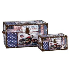 2 Piece Motorcycle Design Trunk Set (Large & Small)