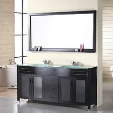 "Waterfall 61"" Double Bathroom Vanity Set with Mirror"