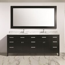 "London 84"" Double Sink Vanity Set with Mirror"