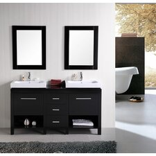 "New York 60"" Double Bathroom Vanity Set with Mirror"