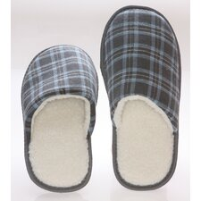 Checkered Cotton Wool Fleece Lining Mens House Slippers