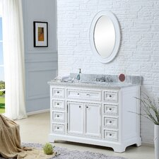 "Derby 48"" Solid White Single Sink Bathroom Vanity Set with Mirror"