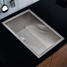 "Water Creation SS-U-1520A 15"" X 20"" Zero Radius Single Bowl Stainless Steel Hand Made Undermount Bar Sink"