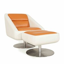 Radial Leather Swivel Lounge Chair