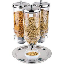 4.8 Qt. 3 Dispenser Polypropylene Cereal Dispenser with Stainless Steel Lid