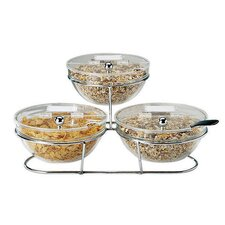 """5.38"""" Bowls, Lids and Stand Set"""