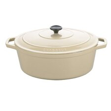 Matte Meringue Cast Iron Oval Dutch Oven
