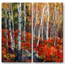 'Birch Trees' by Ingrid Dohm 2 Piece Painting Print Plaque Set in Red