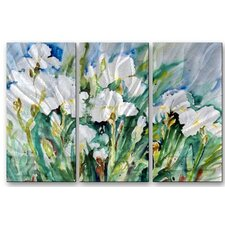 'Tulips' by Ingrid Dohm 3 Piece Painting Print Plaque Set in White