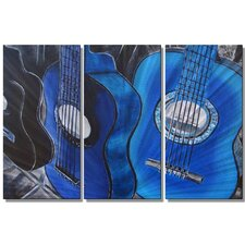 'Guitars in Blue' by Melissa Sherowski 3 Piece Painting Print Plaque Set