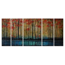 'On the Banks' by Peggy Davis 5 Piece Graphic Art Plaque Set