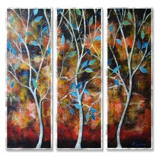 'Trees in the Breesze' by Peggy Davis 3 Piece Graphic Art Plaque Set