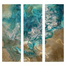 'Lively Tide Pool' by Kelli Money Huff 3 Piece Original Painting on Metal Plaque Set
