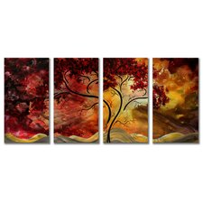 4 Piece Original Painting on Metal Plaque Set by Megan Duncanson