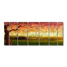 'Tree' by Ash Carl 7 Piece Original Painting on Metal Plaque Set