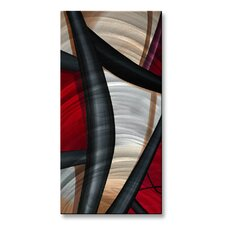 'Wow and Red 2' by Jerry Clovis Original Painting on Metal Plaque