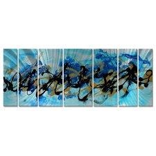 'Under The Sea' by Megan Duncanson 7 Piece Original Painting on Metal Plaque Set