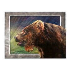 'Red Griz' by Nancy Jean Busse Original Painting on Metal Plaque