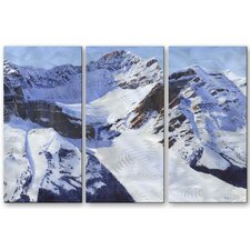 'Snow and Ice' by Glen Frear 3 Piece Original Painting on Metal Plaque Set