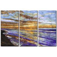 'Sunrise at Surfside' by Keith Wilke 3 Piece Original Painting on Metal Plaque Set