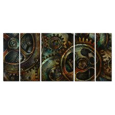 'Geared up' by Michael Lang 5 Piece Painting Print Plaque Set