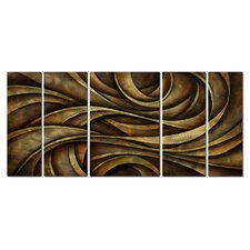 'Neutral Waves' by Michael Lang 5 Piece Graphic Art Plaque Set