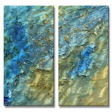 'Water Swept' by Kelli Money Huff 2 Piece Original Painting on Metal Plaque Set