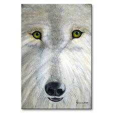 'White Wolf Face' by Jerome Stumphauzer Original Painting on Metal Plaque
