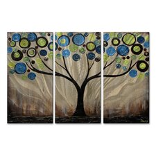 'Green Swirl Tree' by Danlye Jones 3 Piece Original Painting on Metal Plaque Set