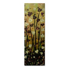 'Burgundy Flowers' by Danlye Jones Original Painting on Metal Plaque