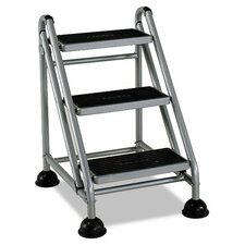 3-Step Steel Rolling Commercial Step Stool with 300 lb. Load Capacity
