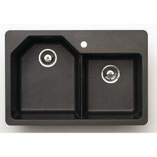 "Offset 33"" x 22"" Granite Double Bowl Kitchen Sink"