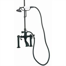 Rim Mount Volume Control Tub and Shower Faucet with Hand Shower and Metal Cross Handles