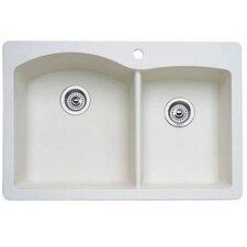 "Diamond 33"" x 22"" Bowl Drop-In Kitchen Sink"