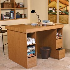 Project Center Writing Desk with 6 Bin Cabinets