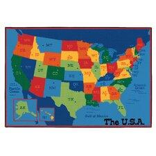 Printed USA Learn and Play Area Rug