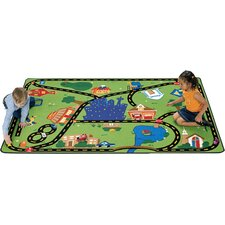 Theme Cruisin' Around the Town Green Area Rug