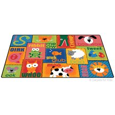 Printed Animal Sounds Toddler Area Rug