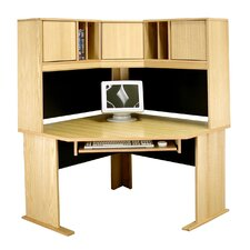 Modular Real Oak Wood Veneer Corner Desk with Hutch