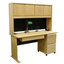 Modular Real Oak Wood Veneer Standard Desk with Hutch