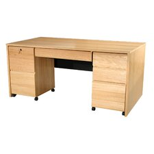 Modular Real Oak Wood Veneer Computer Desk with Mobile Pedestals