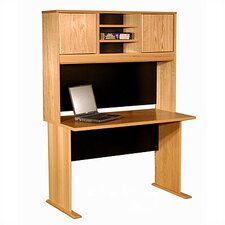 Modular Real Oak Wood Veneer Standard Desk Shell with Hutch
